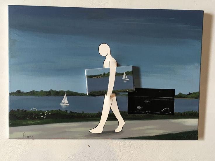 Jonathan Grego - Non tutti I buchi riescono con la ciambella Acrilico e tela tagliata, 2017