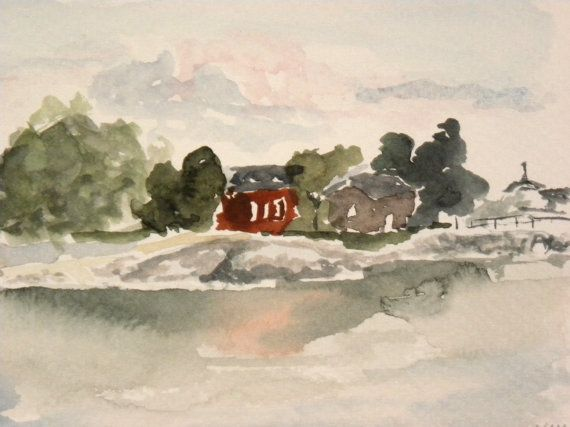 Uunisaari island in the front of Helsinki, painting by EarlyMorningWalk