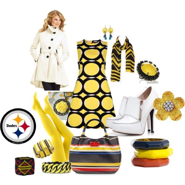 Pittsburgh Steelers, created by lateefah-yallknowme-brown on PolyvoreSteelers Fashion, Bleeding Black, Steelers Stuff, Nfl Chic, Pittsburgh Steelers