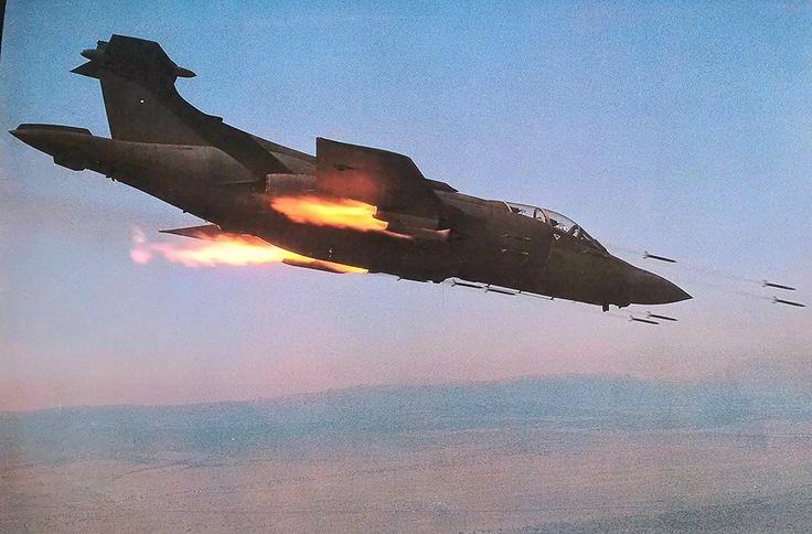 ☆ South African Airforce ✈Buccaneer 413 firing a salvo of six rockets from each…