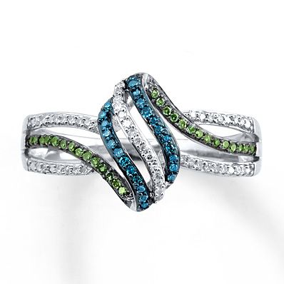 This is so pretty.  A girl can wish haha  Blue/Green Diamonds 1/5 ct tw Ring Sterling Silver