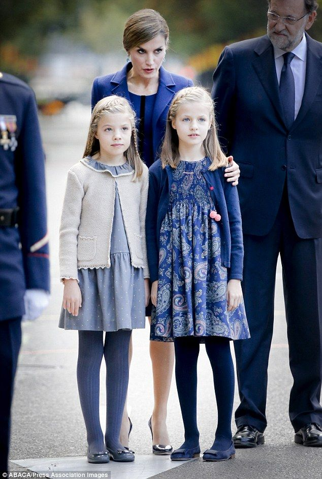 10-12-15. Princess Sofia and her big sister Princess Leonor of Asturias were composed and well-behaved at the parade