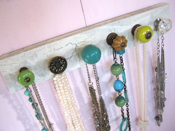 Necklace Holder with Blue and Green Knobs by AuntDedesBasement, $36.00