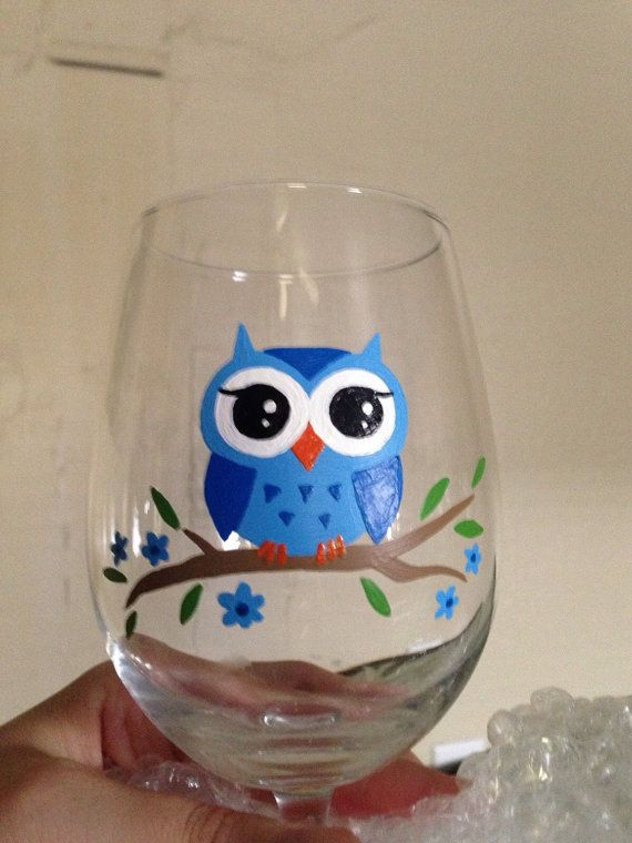 Made to order hand painted 12oz owl wine glass comes in purple or blue; hand wash recommended for longer lasting new appearance, top-rack Dishwasher safe 20 days after purchase  Shipping is priority mail.