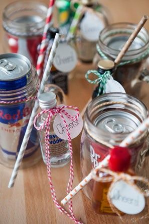 cocktail kit favors in Mason jars and tied with baker's twine