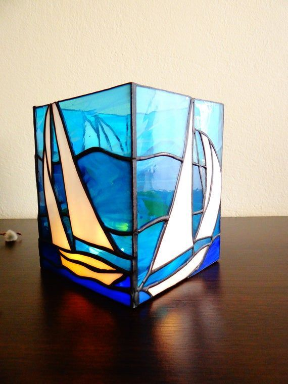 Sailboat Stained Glass Boat Candle Holder Light Box Lantern Etsy Sailboats Ocean Ships Sailing In 2020 Stained Glass Candles Glass Boat Stained Glass Candle Holders