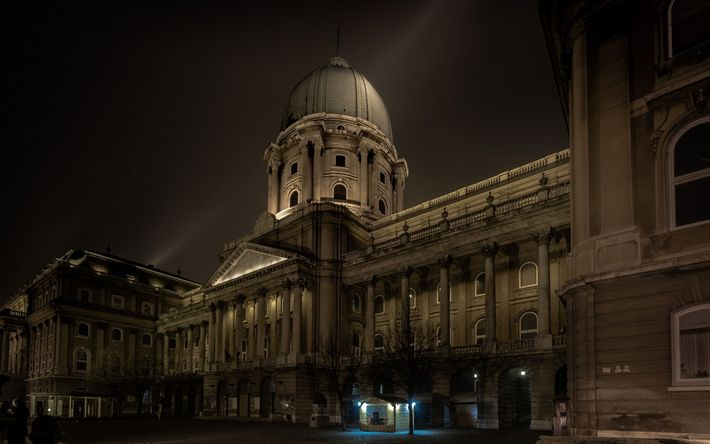 Download wallpapers Budapest, night, Royal Palace, Buda Castle, attractions, Hungary, city lights