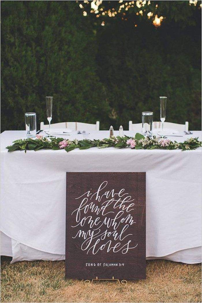 Heartfelt, romantic and simple. We absolutely love this sign! Calligrapher: Paper and Honey; Photographer: Alicia Lucia Photography via Wedding Chicks