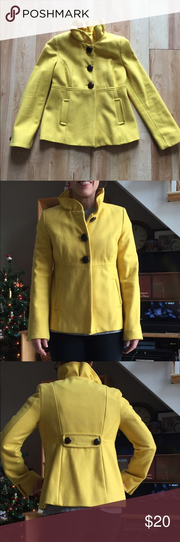 Yellow old navy pea coat Rarely worn, super cute, pea coat! Fits like a true xs. For size reference I'm 5ft tall, 110lbs, and this fits perfectly. Old Navy Jackets & Coats Pea Coats