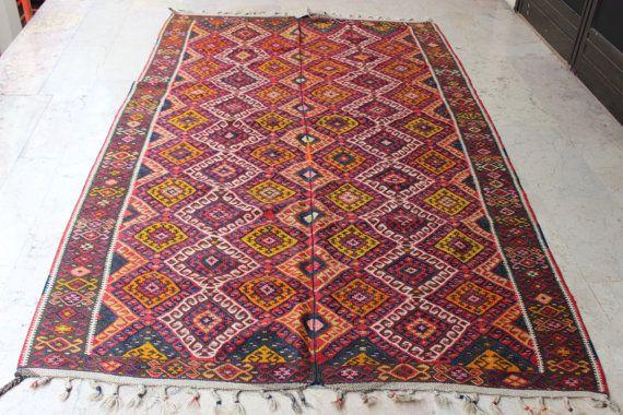 Turkish Area Kilim,Vintage Kilim,Decoraive Kilim Rug,Handmade Kilim,Ethnic Kilim,Colorful Kilim Rug Boho Kilim,106 x 65 inch,270x165 cm