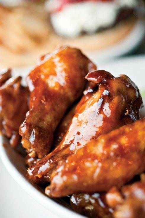 Teriyaki Chicken Wings with Hot Mango Dipping Sauce #football #stevia