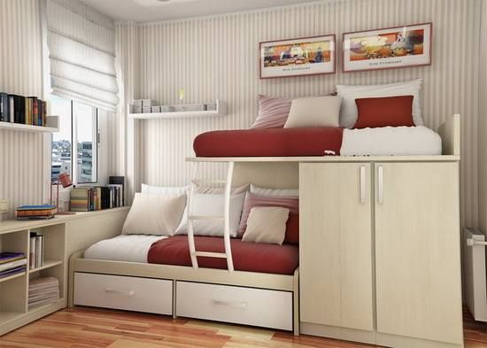 Need to share a small room? No space problems with this set-up. (Source: grufti.co)