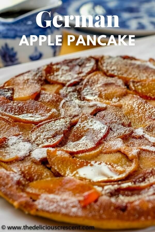 German Apple Pancake is a easy and healthy version that is so tender and custardy. The taste is reminiscent of a French toast with caramelized apples! So Yum! | Puffed Apple Pancakes | Dutch Baby Pancakes | Baked Apple Pancakes | Apfelpfannkuchen | Caramelized Apple German Pancake Brunch | #healthybreakfast #pancakes #brunch #Germanfood #baking #easyrecipes #apples via @TDCrescent