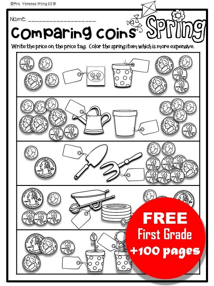 Free First Grade Activities And Worksheets With Fall Winter Spring And Winter Theme First Grade Activities Spring Math First Grade Worksheets