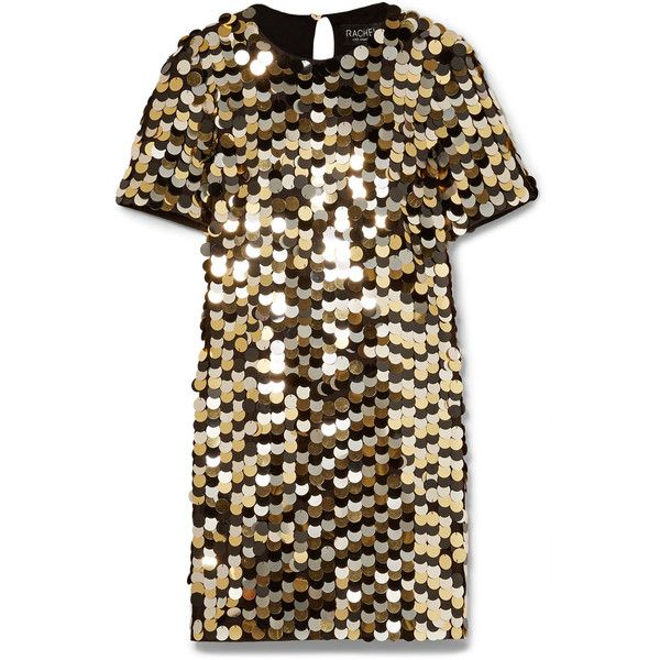 Rachel Zoe Elsa sequined cotton-jersey mini dress (€535) ❤ liked on Polyvore featuring dresses, vestido, rachel zoe, glamorous dresses, sequin dress, sequin embellished dress and short brown dress