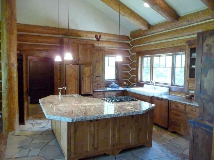 Classic Look In The Log Cabin Kitchens | RagingKitchen.