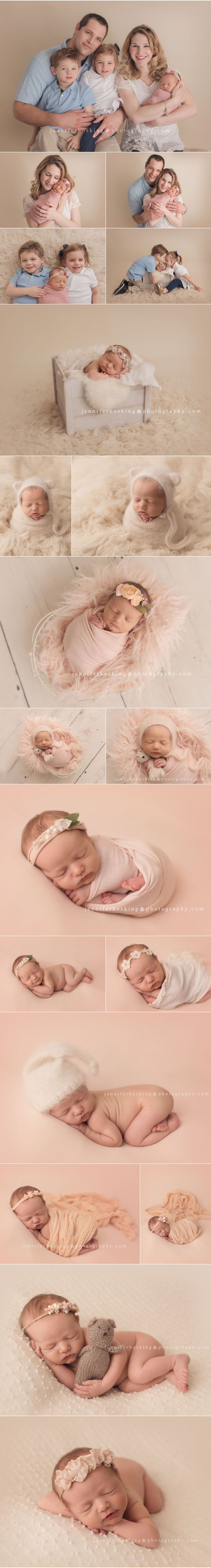 Newborn session with twin older siblings