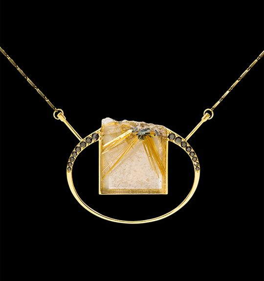 Acantilado 3   Collar con cuarzo rutilado, diamantes negros y oro 18k - Necklace with rutilated quartz, black diamonds and 18k gold #StudioJewelry #DesignerJewellery #Exclusive #Jewelry #ArtJewelry #Luxury #Design #BlackDiamonds