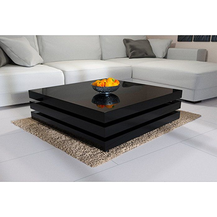 Deuba Rotatable Coffee Table High Gloss Black Modern End Side