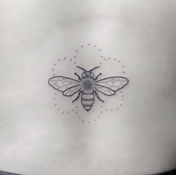 Delicate dotwork bee tattoo by Pablo Torre