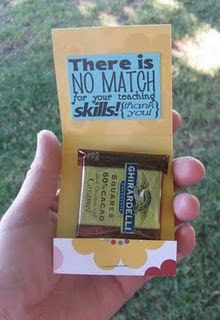 Matchbook chocolate holder....cute idea for just about anyone. Who doesn't like chocolate :)