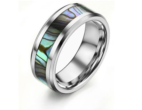 Bague Nacre ET Carbure DE Tungstène T57 Tungsten Carbide Ring With Shell T57 | eBay