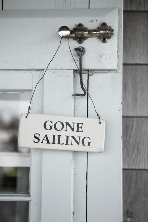 If you are with kids on holidays, get them to pick up pieces of wood on the beach to pain their own GONE SAILING sign