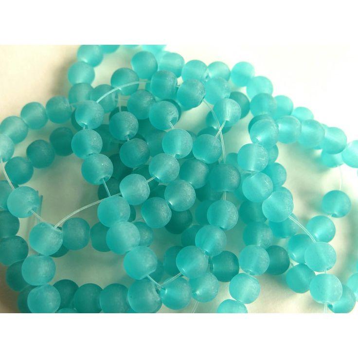 30 Perle di vetro opaco azzurrodiam 6 mmforo 1.3 mm