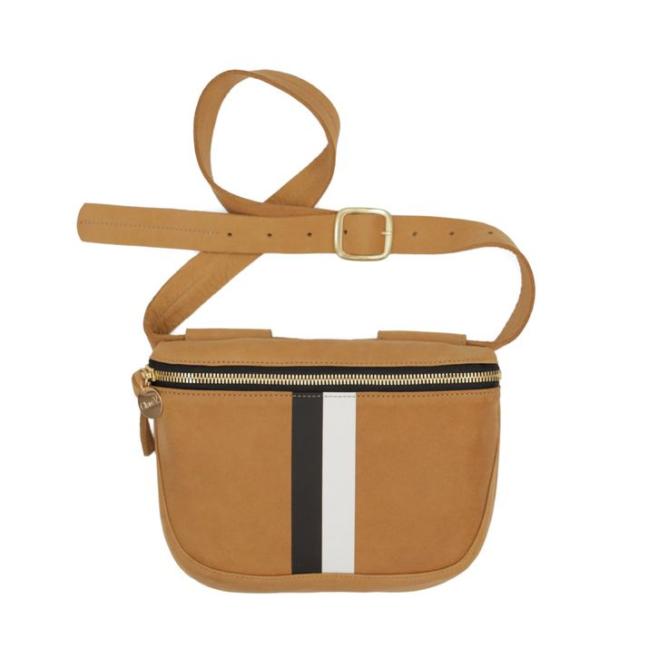 Clare V.'s Camel Nubuck with Black & White Stripes Fanny Pack is a stylish hands-free way to carry all your essentials, ideal for travel or a striking accen