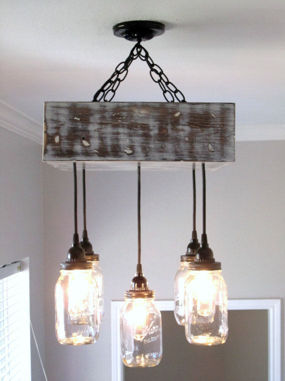 Mason jar chandelier square ceiling light with canopy for Rustic barn light fixtures