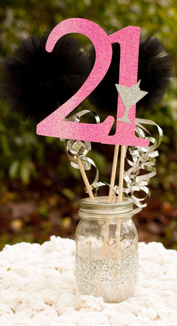 Centerpieces Birthday Tables Ideas 80th birthday mason jar photo centerpiece 21st Birthday Centerpiece Party Decoration By Gracesgardens