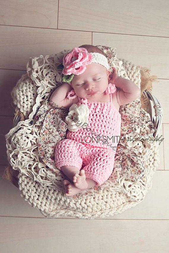 Baby Spring Flower Romper & Headband Set - Crochet Beanie Girl Halloween Photo Prop Costume Christmas Spring Summer Winter on Etsy, $44.99