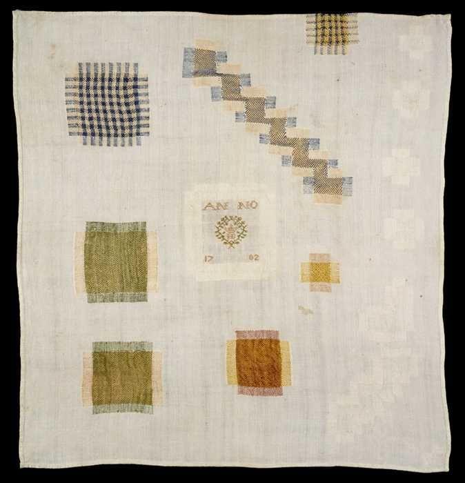 """Stoplap gewerkt in gekleurd zijde en wit linnen op fijn wit linnen, gemerkt """"IB ANNO 1702"""", oefening"""