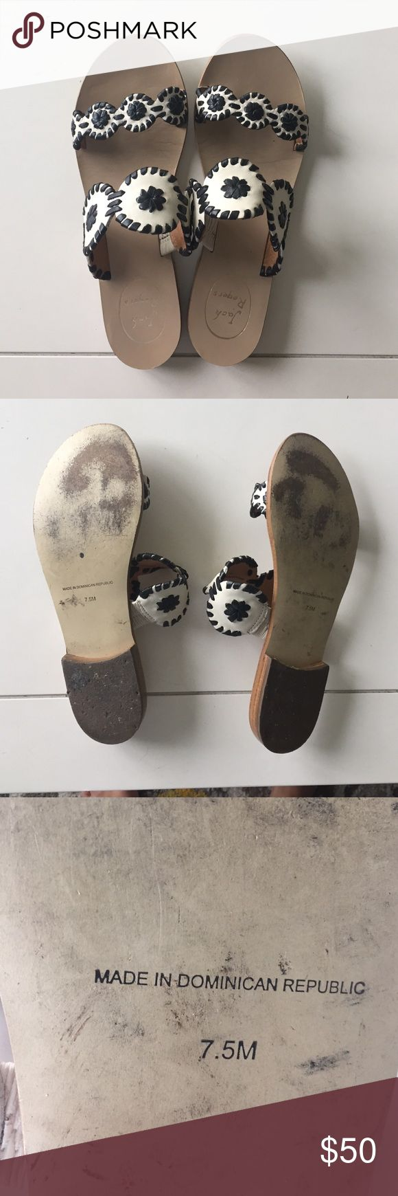 Jack Rogers sandals Great condition cream and black sandals Jack Rogers Shoes Sandals