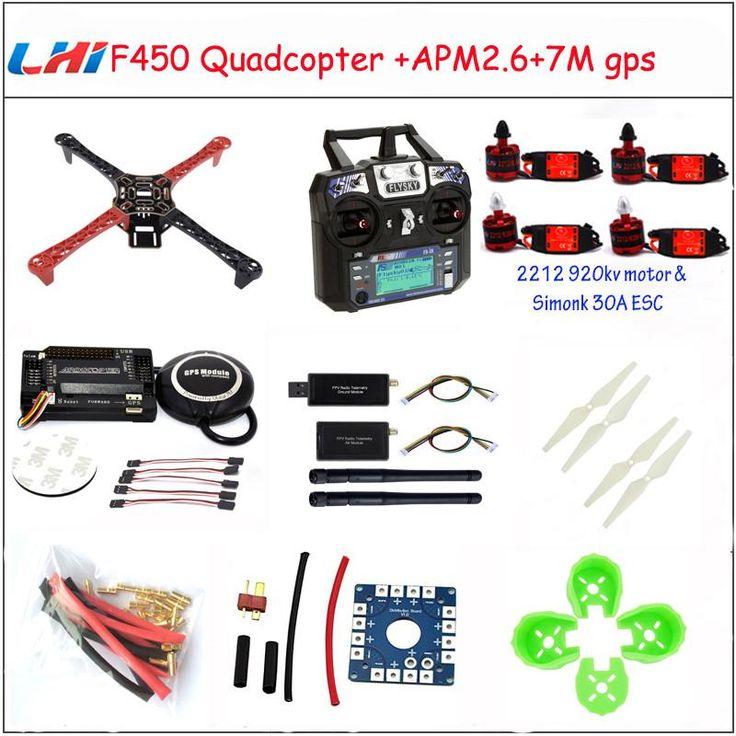 LHI F450 Quadcopter Kit Frame Rack APM2.6 and 6M 7M 8M GPS brushless motor esc 2212 920KV simonk 30A 9443 props Dron drone