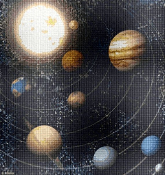 Cross stitch design: Stars and Planets (Image courtesy of Space Telescope Science Institute - STScI)  Design size: 12 x 12.71 inches (30.48 x 32.29 cm) on 14 count Aida cloth  Stitches: 168 x 178  Colours: 58 DMC floss colours  Strands to be used: 2  PDF pattern download contains: - colour photo for reference - black and white pattern with symbols spread over a number of pages for easy reading. - symbol key for DMC floss - strands to be used: 2  This listing is for a digital pattern ONLY…