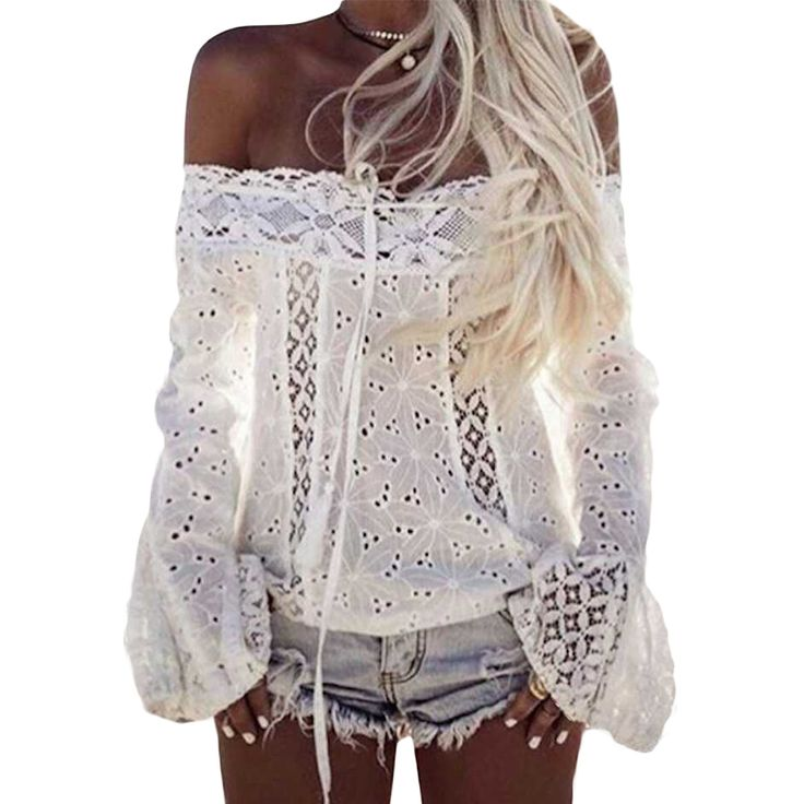 >> Click to Buy << Summer Women Sexy White Blouses Shirts Lace Top Plus Size Clubwear Flare Sleeve Clothing  LJ9439M #Affiliate