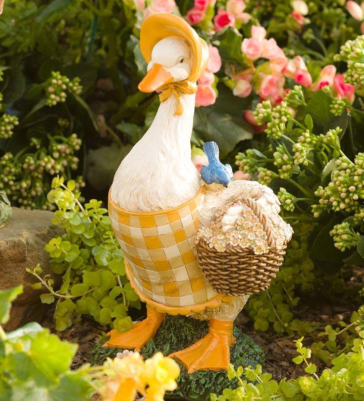 Hand Painted Resin Gardening Duck Outdoor Statue | Garden Statues
