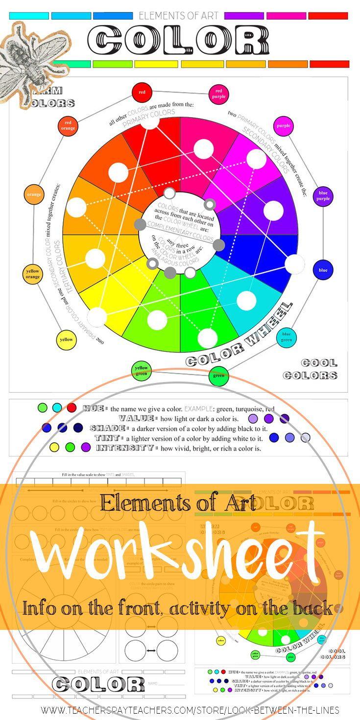 Elements Of Art Color Worksheet Elementary Middle School And High School Art Elements Of Art Color Elements Of Art Visual Art [ 1470 x 735 Pixel ]