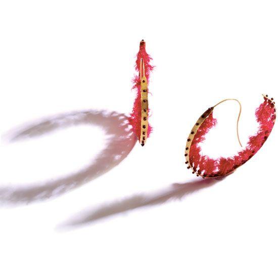 Katerina Ioannidis- Earrings, gold 18K and thread