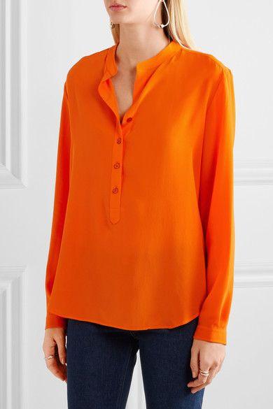 Stella McCartney - Eva Silk Crepe De Chine Blouse - Bright orange - IT40