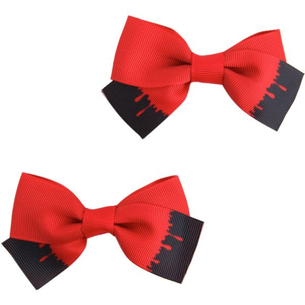 Hot Topic Blood Drip Cheer Hair Bow 2 Pack (8.94 CAD) ❤ liked on Polyvore featuring accessories, hair accessories, black, bow hair accessories, red hair bow, red bow hair accessories and red hair accessories