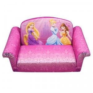 The Disney Princess Marshmallow Flip-Open Sofa can be used as a traditional sofa or flipped open and transformed into a lounger.