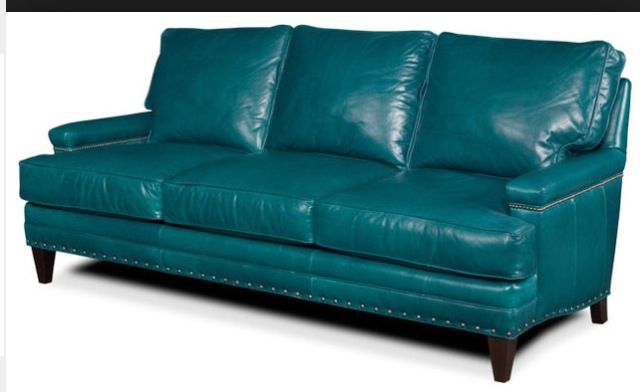Upholstered In Rich Teal Hued Leather This Clic Sofa Brings A Luxe Touch To Your Living Room Or Den Product Ideas For The House Pinterest
