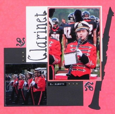 Marching Band Scrapbook Page Idea Using Silhouette Patterns