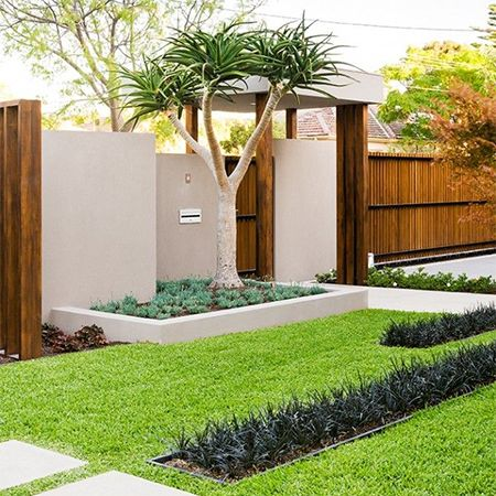In a modern garden raised brick beds plastered and for Brick garden border designs