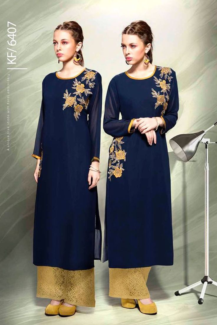 Designer Real Georgette Navy Blue Kurtis For Office Wear Or Casual Wear With Embroidary Work.......