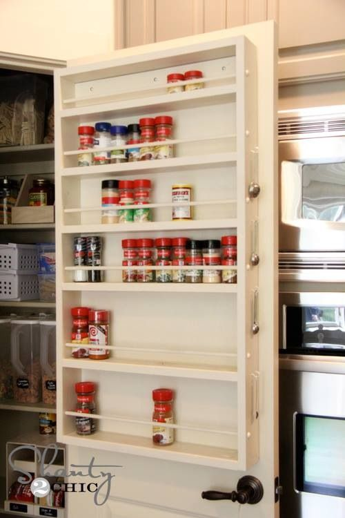 Inside the door...no need to waste space AND I can actually see all my spices.  What a novel idea!