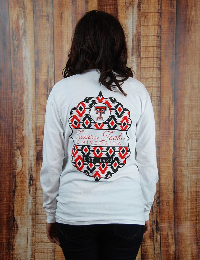 Hey Red Raider! Show your love for Texas Tech while staying super trendy and cute in this great long-sleeve t-shirt! Guns Up! TTU Tribal Pocket Tribute - WHITE