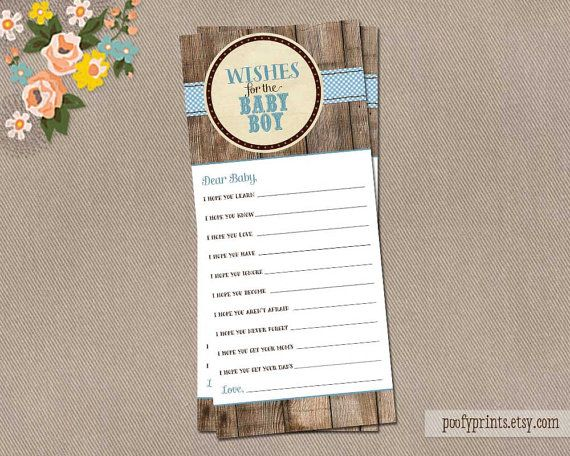 Rustic Wishes for Baby Boy Card  INSTANT DOWNLOAD  by PoofyPrints, $7.00